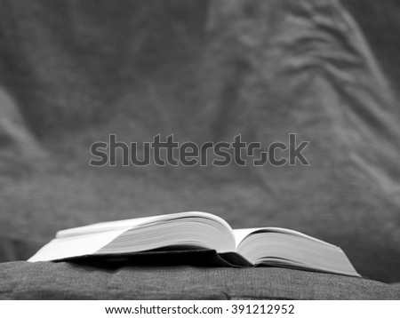 Opened book lying on the sofa - black and white