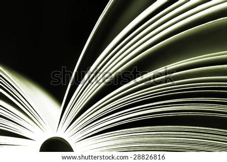 Opened book on dark background - moss green version - stock photo