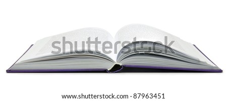 Opened book on white background. - stock photo
