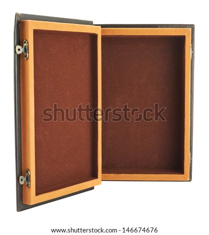 Opened book shaped casket isolated over white background - stock photo