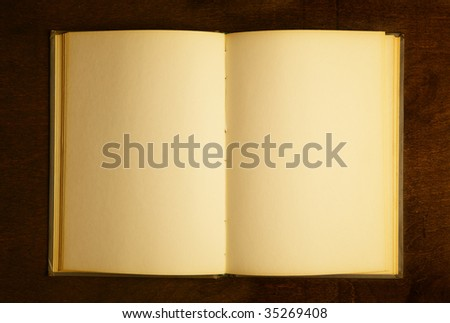 Opened book with blank pages on wooden table - stock photo