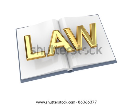 Opened book with golden word LAW.Isolated on white background.3d rendered. - stock photo