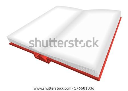 Opened book with red cover and empty  pages (vector version also available) - stock photo