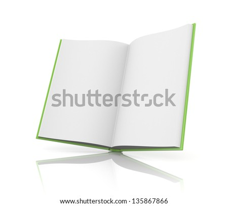Opened book with reflection - stock photo