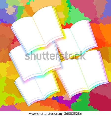 Opened books with blank pages on a bright colorful background - stock photo