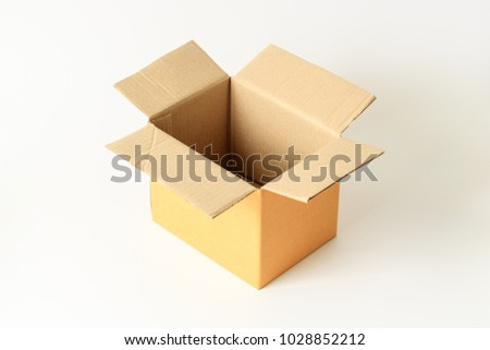 Opened brown paper carton box isolated on white background
