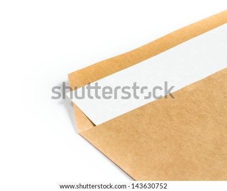Opened brown Recycle  Big  envelope with paper letter inside on white background, closeup - stock photo