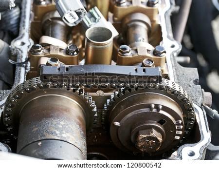 Opened Car Engine - stock photo