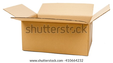 Opened cardboard box. Front view. Isolated on white background