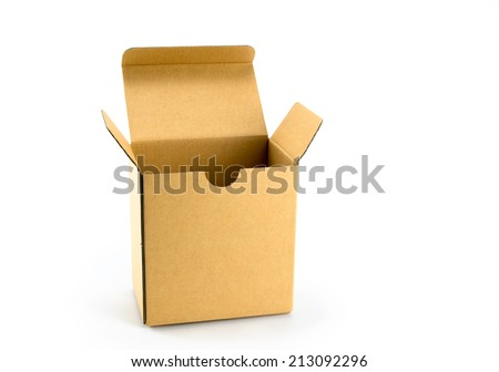opened cardboard box isolated on a white background. - stock photo