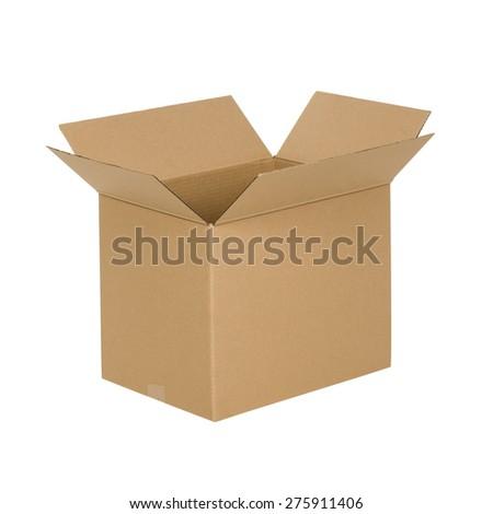 Opened cardboard box Isolated on white background - stock photo