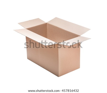 Opened cardboard box Isolated on white background.