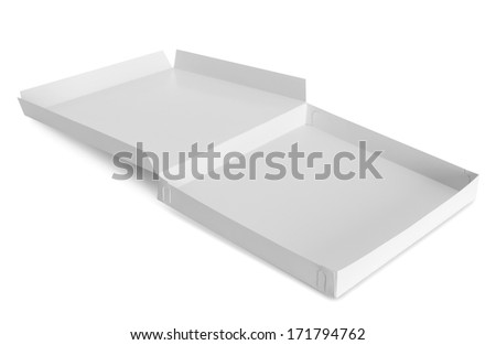 opened cardboard box isolated over white background