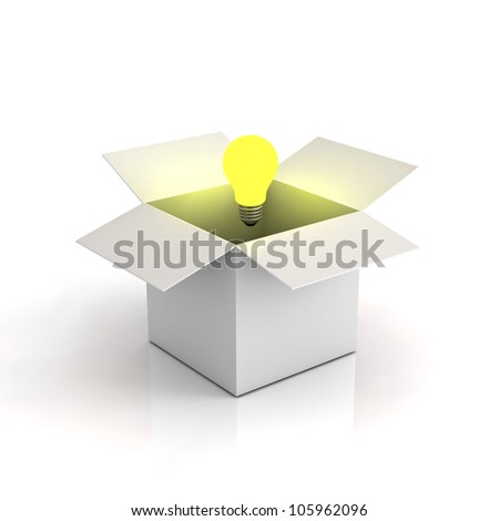 Opened cardboard box with lit light bulb on white background with reflection, thinking outside the box concept - stock photo