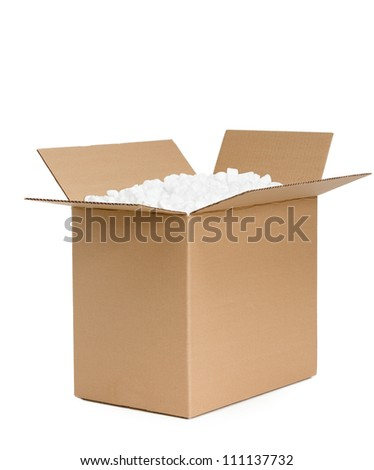 Opened cardboard container is filled with foam plastic, isolated, white background - stock photo