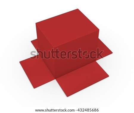 Opened cardboard package box upside down, isolated, white background 3d rendering