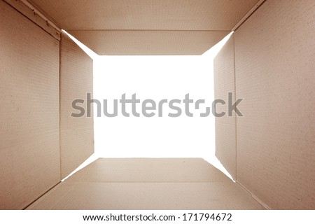 Opened cardboard package from shoot from inside the box - stock photo