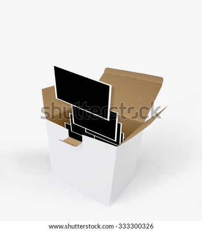 Opened carton box with photograph templates, isolated on white.