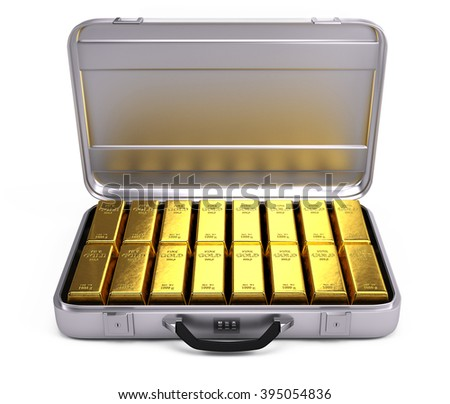 Opened case with gold bars isolated on white