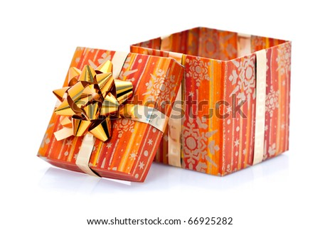 Opened Christmas present isolated on white background. - stock photo