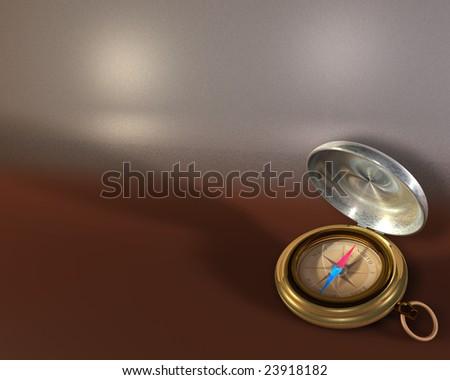 Opened compass on metallic background - stock photo