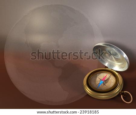 Opened compass on metallic background and bubble globe - stock photo