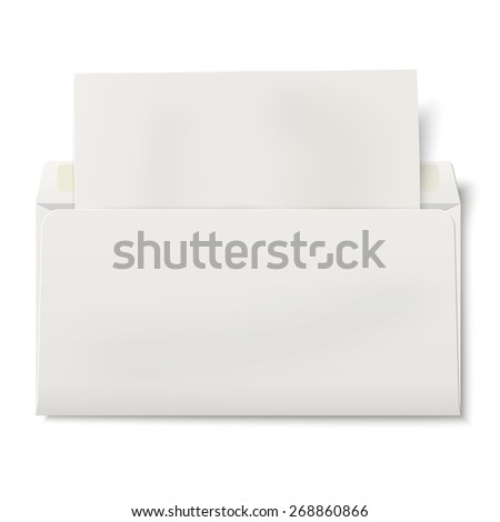 Opened DL envelope with sheet of paper inside isolated - stock photo