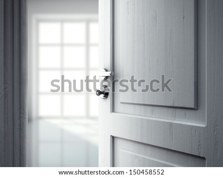 opened door in room with window - stock photo