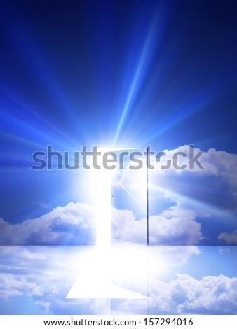 Opened door in sky - stock photo