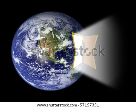 Opened Door Portal with Bright light attached to Earth's Western Hemisphere (Earth map courtesy of NASA [url]http://visibleearth.nasa.gov[/url])