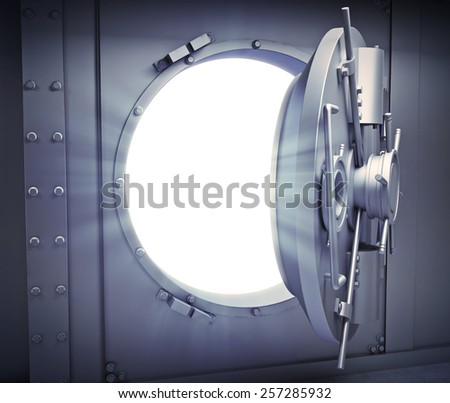 Opened door to a massive bank vault - stock photo