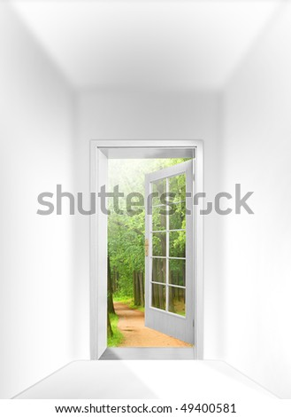 Opened door to early morning in green oak alley - conceptual image - business metaphor. - stock photo