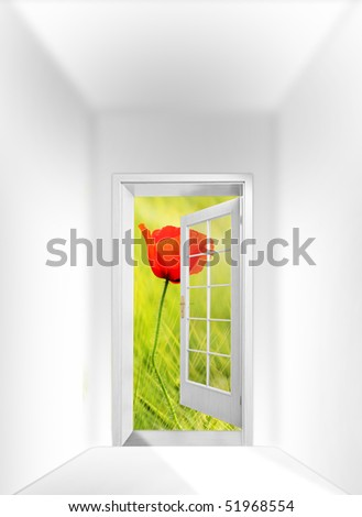Opened door to imaginary landscape. Conceptual image.