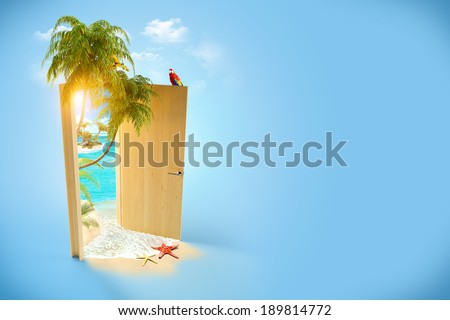 Opened door to the tropical paradise. Travel Background - stock photo