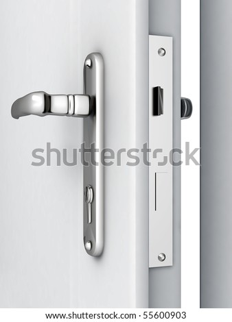 opened door with a modern locking mechanism on a white background - stock photo