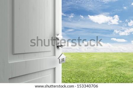 opened door with key in lock in field - stock photo