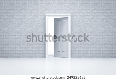 opened door with white brick wall concept - stock photo