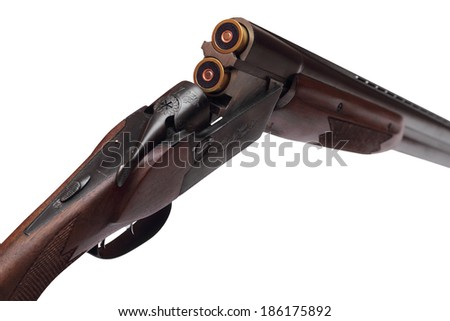 Opened double-barrelled hunting gun with two blue cartridges right rear view isolated on white background - stock photo