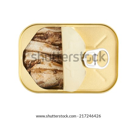 Opened easy open sardine can with the pull tab isolated over the white background, top view - stock photo