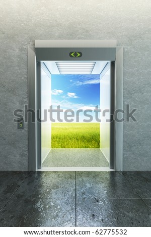 opened elevator to new life - stock photo