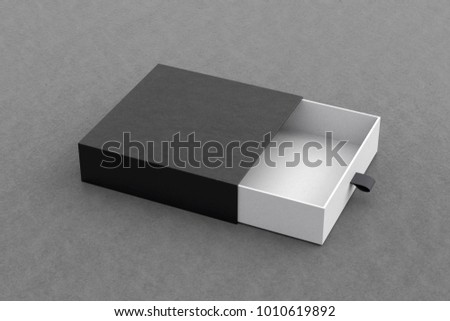 Opened empty black drawer sliding box on gray background. Isolated with clipping path around box. 3d illustration