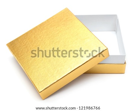 Opened empty gold gift box on a white background - stock photo