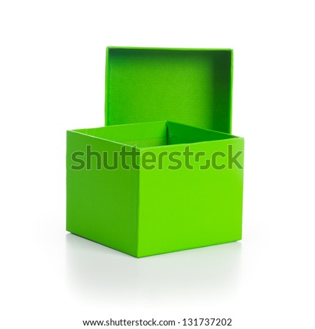 Opened empty green box with lid on white background clipping path included