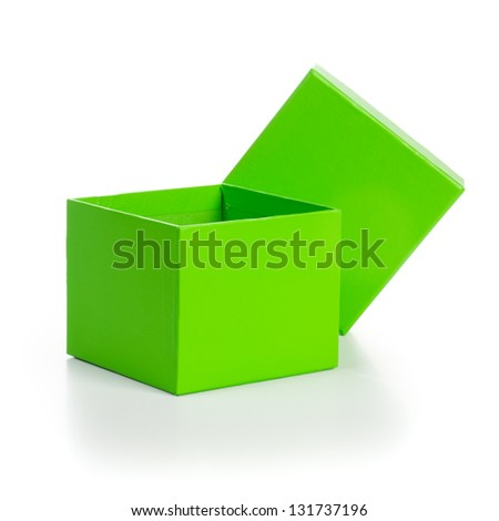 Opened empty green gift box with lid on white background clipping path included