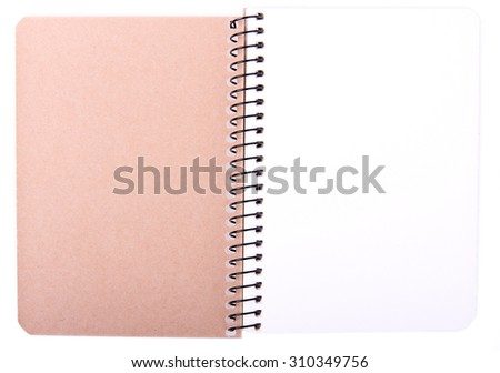 Opened empty paper notebook. Isolated on white background.