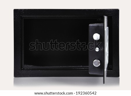opened  empty safe on a white background - stock photo