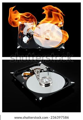 Opened external hard drive on fire. Hard disk failure. Data loss concept, computer crash - stock photo
