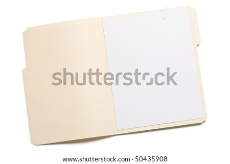 Opened file folder with blank paper inside. - stock photo