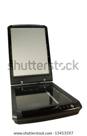 opened flatbed scanner on white background - stock photo