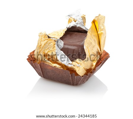 opened foil isolated candy with reflection - stock photo